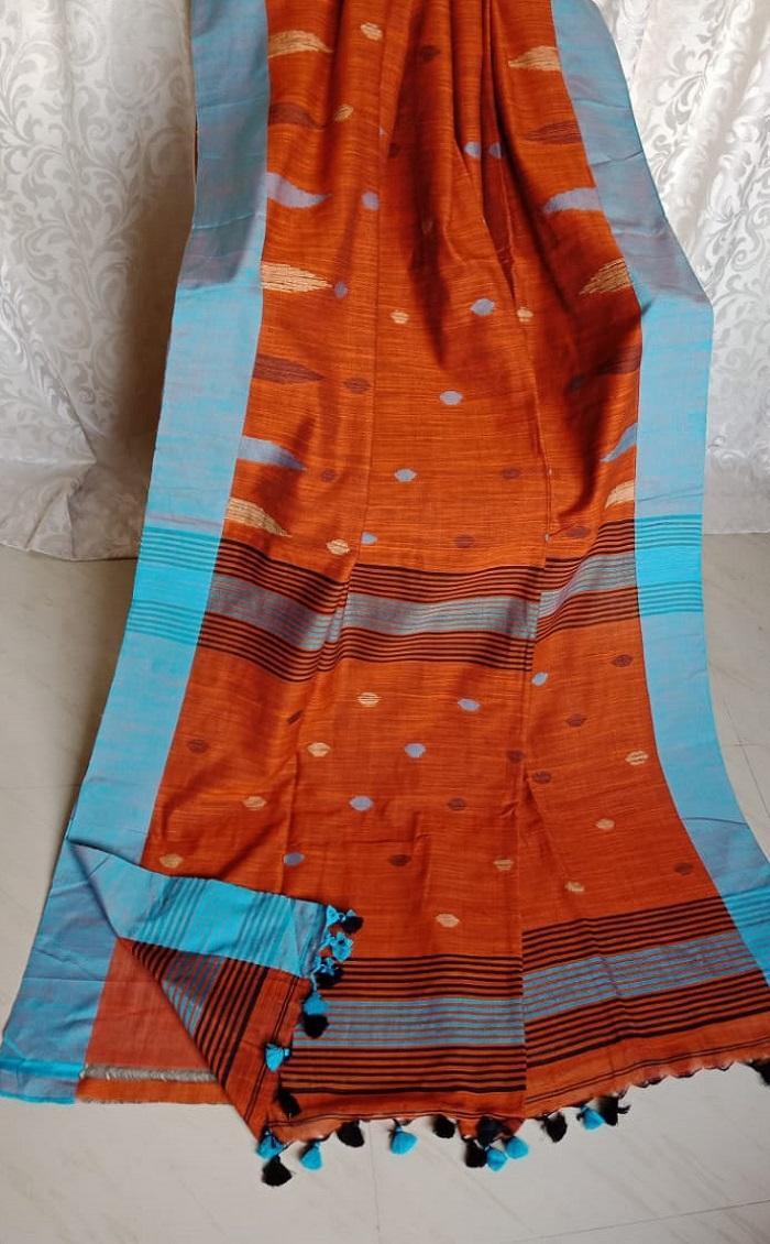 Orange with Sky Blue Border Butta Cotton Saree