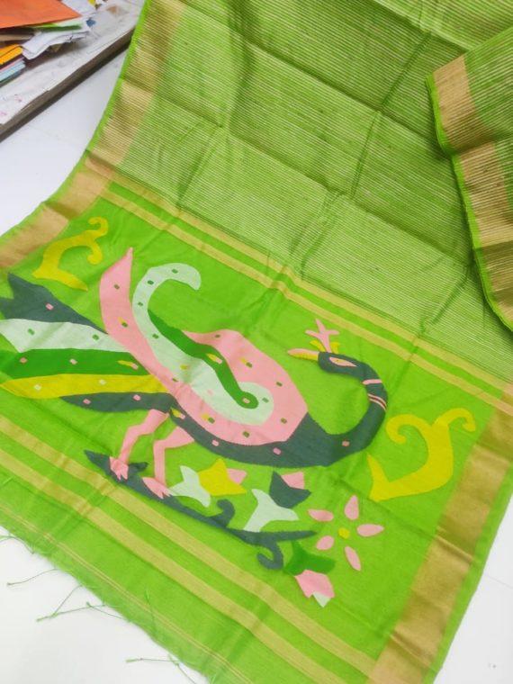 Parrot Green with Golden Border Natural Organic Jute Silk Saree