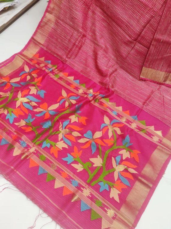 Pink Natural Organic Jute Silk Saree with Floral Design on Pallu
