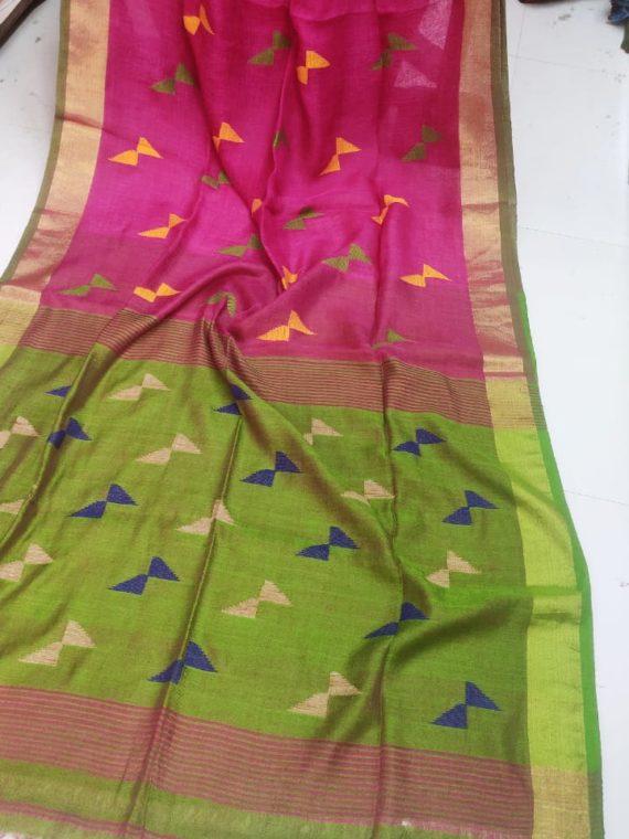 Pink and Green Pallu Linen Butti Jamdani Saree