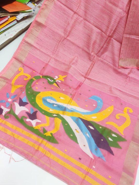 Pink with Golden Border Natural Organic Jute Silk Saree