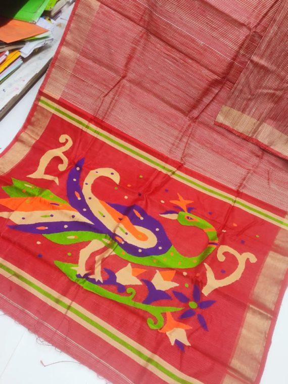 Red with Golden Border Natural Organic Jute Silk Saree