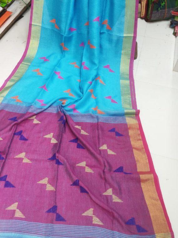 Sky Blue and Pink Pallu Linen Butti Jamdani Saree