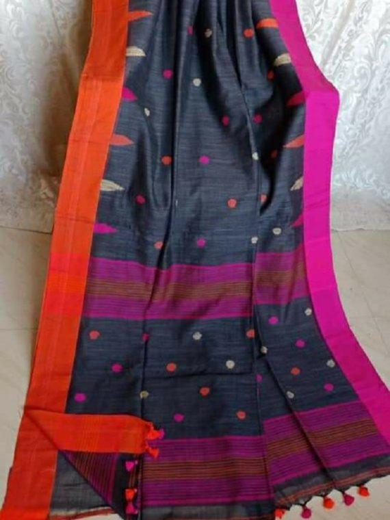 Slate Grey with Orange and Pink Border Butta Cotton Saree