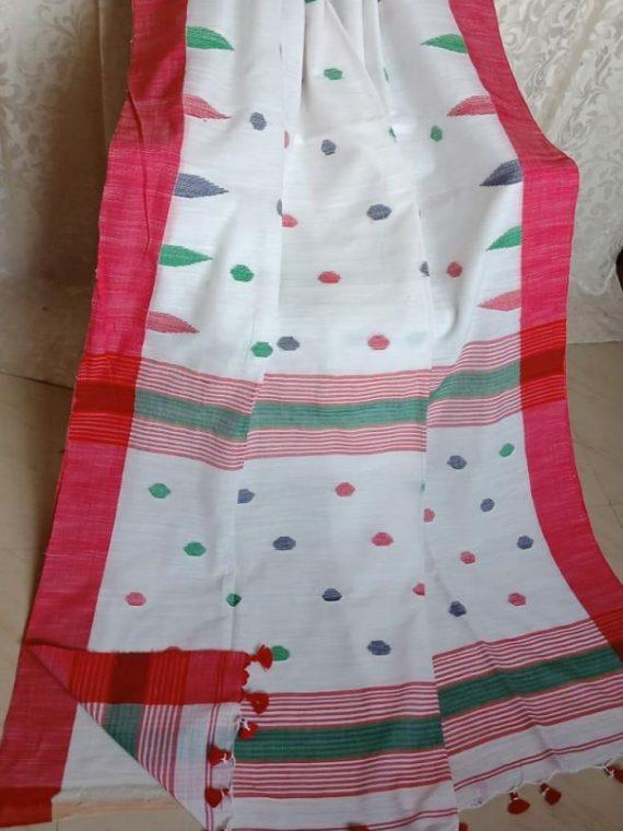 White with Red Border Butta Cotton Saree