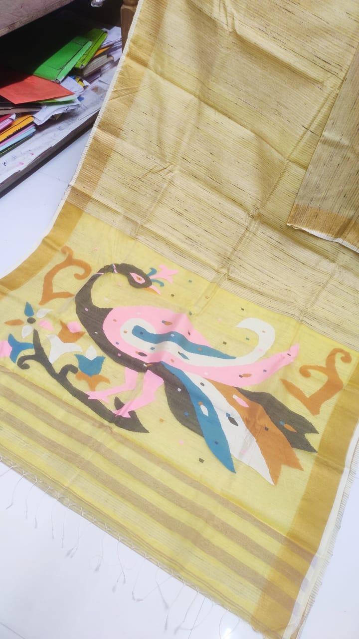 Yellow with Golden Border Natural Organic Jute Silk Saree