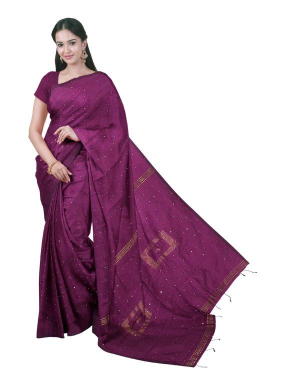 loomfolks_Sequece-Cotton-Silk_WineSequenceSaree__silk_set3_pujitha_front__2020-1-1-16-34-54__3072X4096