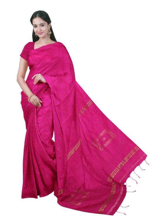 loomfolks__Sequece-Cotton-Silk_MagentaSequenceSaree__silk_set3_pujitha_front__2020-1-1-16-28-30__3072X4096