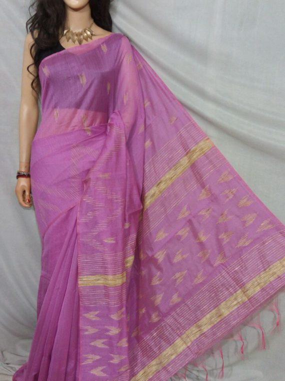 Lavender Purple with Golden Zig Zag Design Cotton Silk Saree