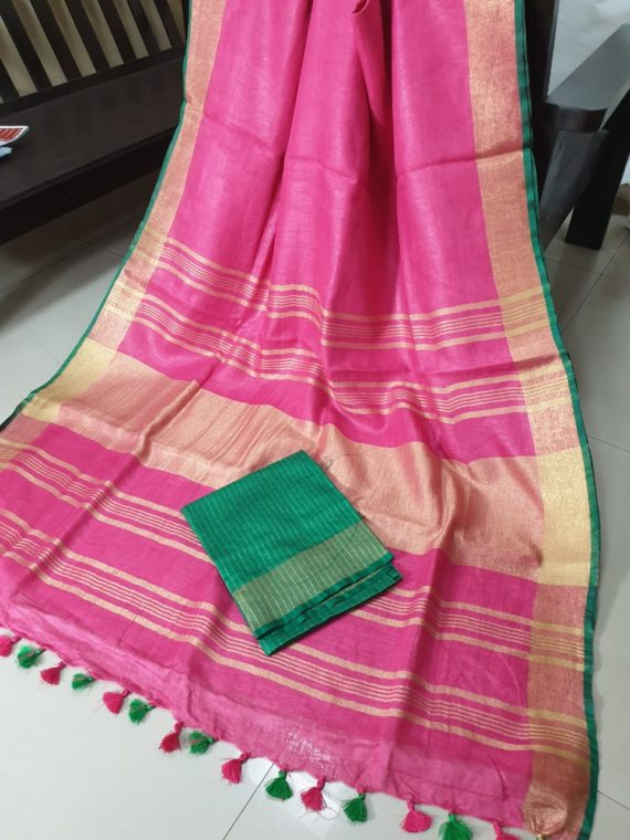 Pink with golden and Green Border plain Linen Saree