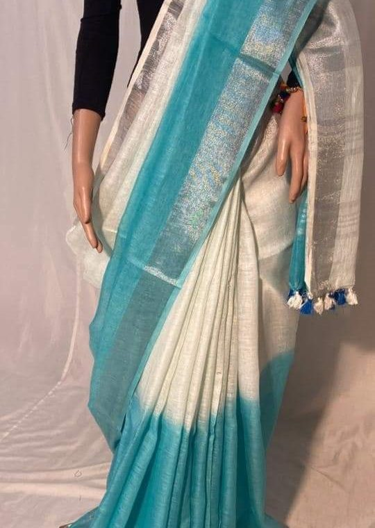 Off White with Blue half n half with Silver Border Multidye Linen Saree