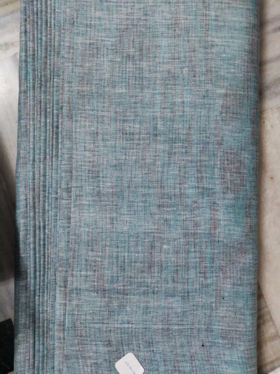 Aqua Blue Grey Linen Yarn Dye Fabric by Meter