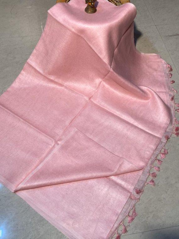 Baby Pink plain linen saree with no Zari border
