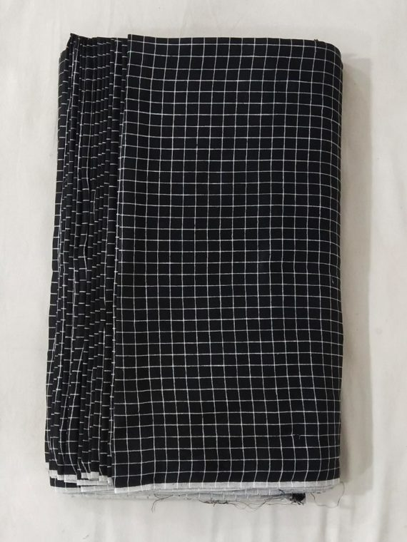 Black White Check Linen Fabric by Meter