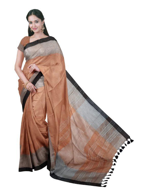 Captivating _ Subtle Light Brown Plain Linen Saree with Silver _ Black Border