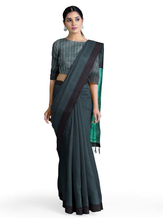 Formal _ Elegant Greenish Black Tussar Staple Saree with Sea Green Giccha Pallu1