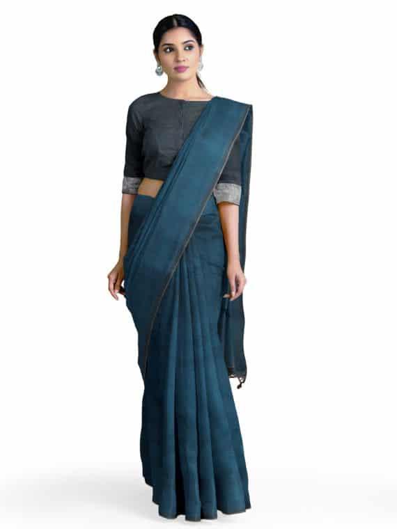 Formal _ Nice Looking Peacock Blue Plain Khadi Cotton Saree
