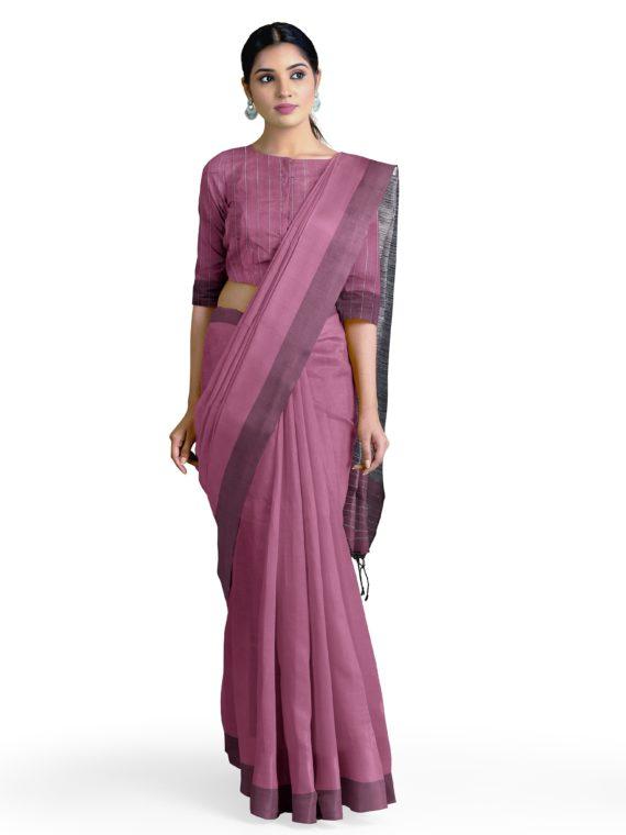 Formal _ Stunning Purple Tussar Staple Saree with Grey Giccha Pallu