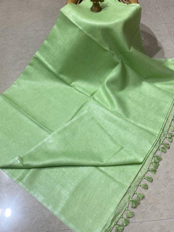 Light Green plain linen saree with no zari border