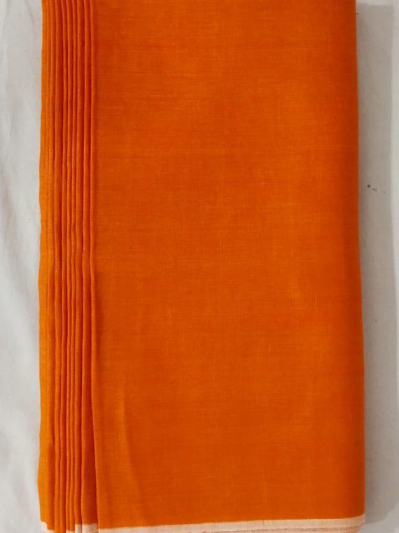 Orange Linen Fabric by Meter