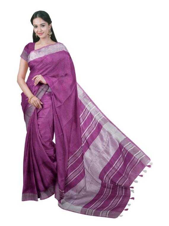 Pretty Purple Plain Linen Saree with Silver Border