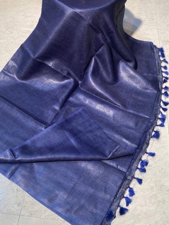 Purple plain linen saree with no zari border