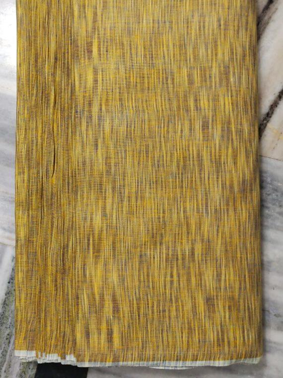 Yellow Brown Yarn Dye Linen Fabric by Meter