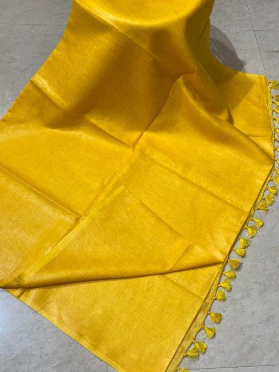 Yellow plain linen saree with no zari border