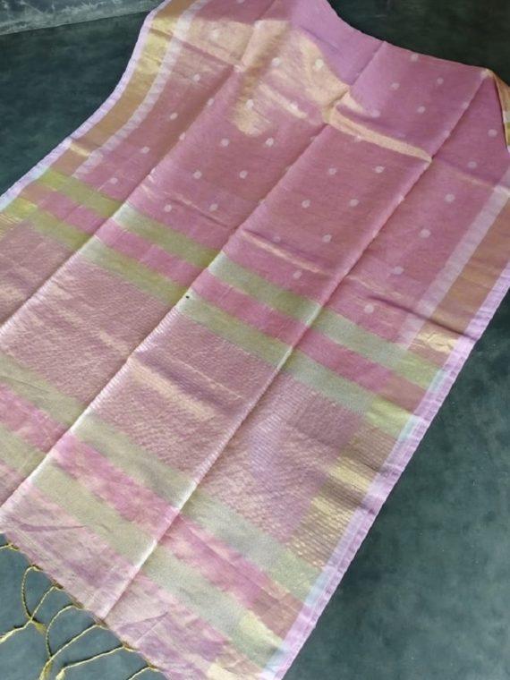 Baby Pink Tissue Linen Ball Butti Saree