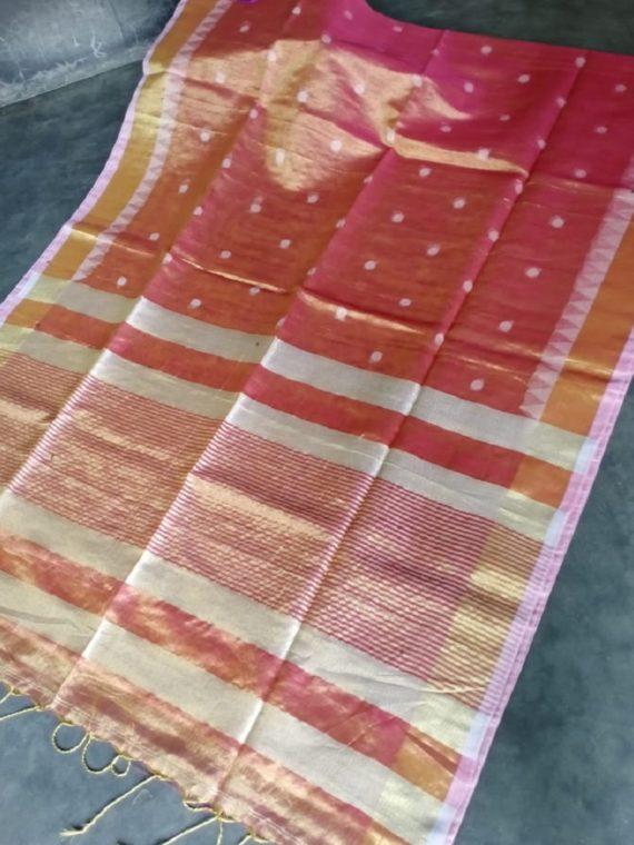 Dark Pink Tissue Linen Ball Butti Saree