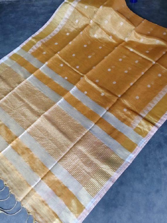 Mustard Yellow Tissue Linen Ball Butti Saree