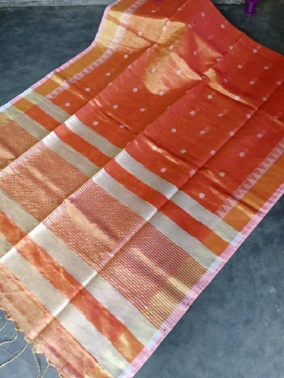 Orange Peach Tissue Linen Ball Butti Saree
