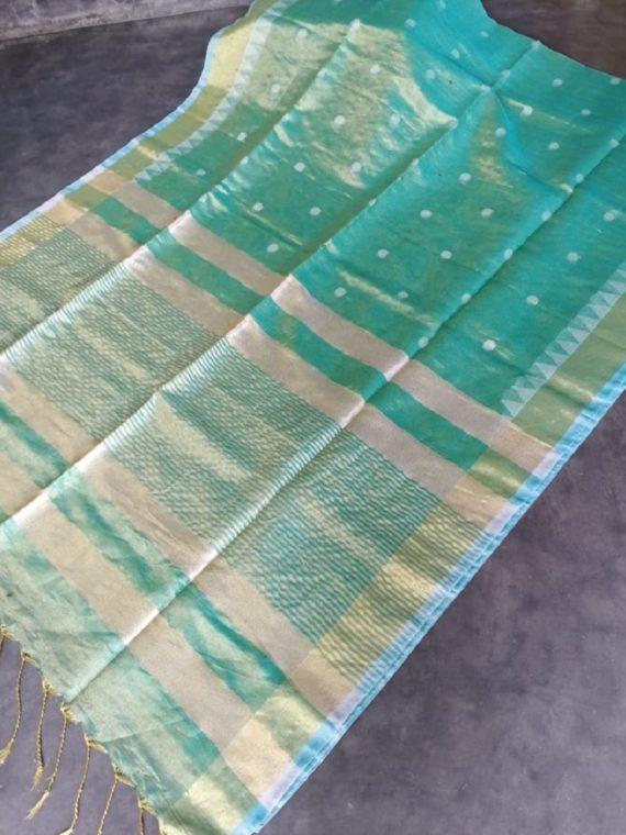 Sea Green Tissue Linen Ball Butti Saree