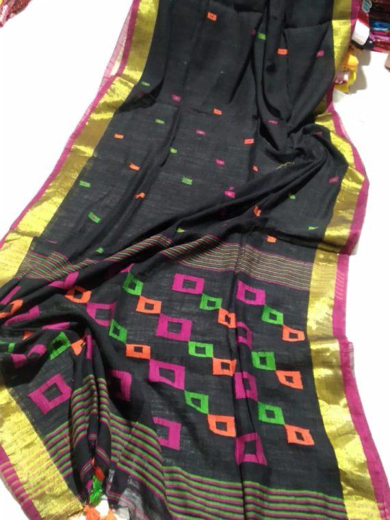 Black Khadi Box Design Pallu with Golden Zari Border