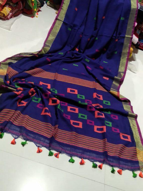 Dark Blue Khadi Box Design Pallu with Golden Zari Border