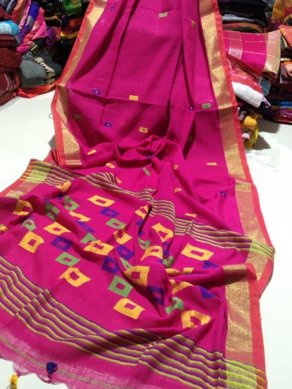 Dark Pink Khadi Box Design Pallu with Golden Zari Border