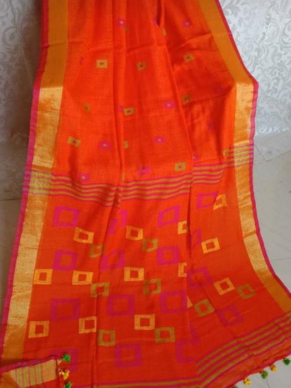 Enticing Orange Khadi Jamdani Saree With Golden Pink Border
