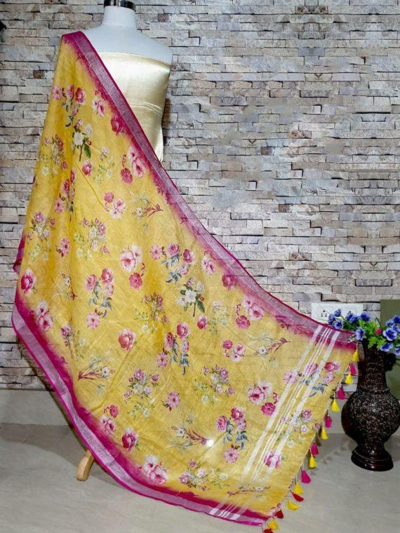 Pleasingly Mango Yellow Pink Floral Print Digital Linen Dupatta_