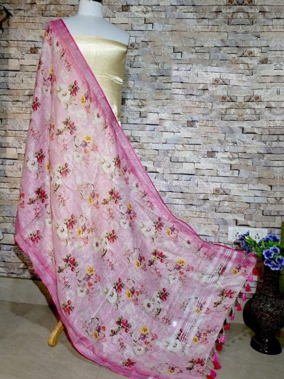 Pleasingly Pink Floral Digital Print Linen Dupatta