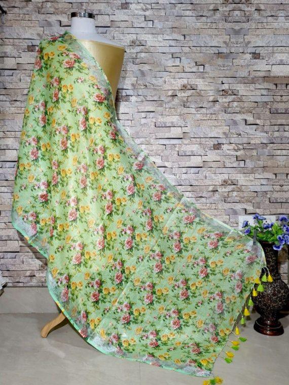 Pretty Green Floral Design Digital Linen Dupatta_