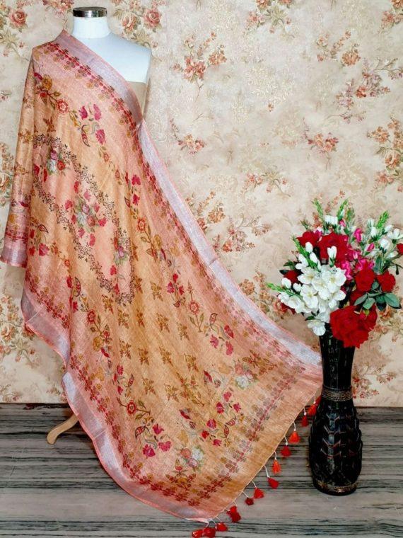 Pretty Peach Floral Design Digital Linen Dupatta