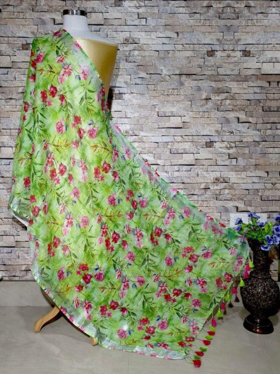 Ravishing Green Floral Print Digital Linen Dupatta_