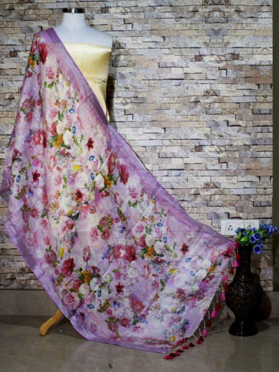 Ravishing Purple Floral Print Digital Linen Dupatta_