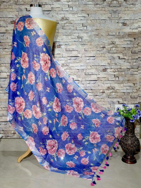 Royal Blue Base Gorgeous Floral Digital Print Linen Dupatta_