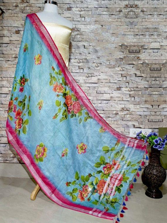 Sky Blue With Dark Pink Floral Design Digital Linen Dupatta_