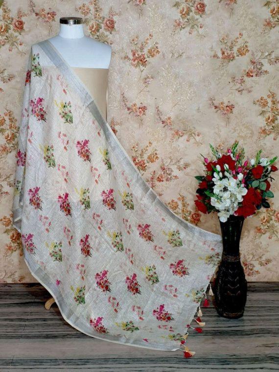 Snow White Floral Design Digital Linen Dupatta_