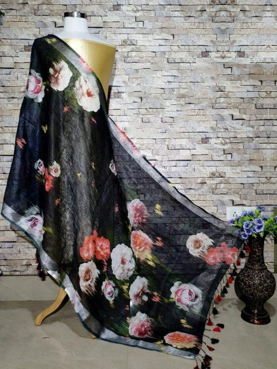 Strikingly Beautiful Black Digital Linen Dupatta