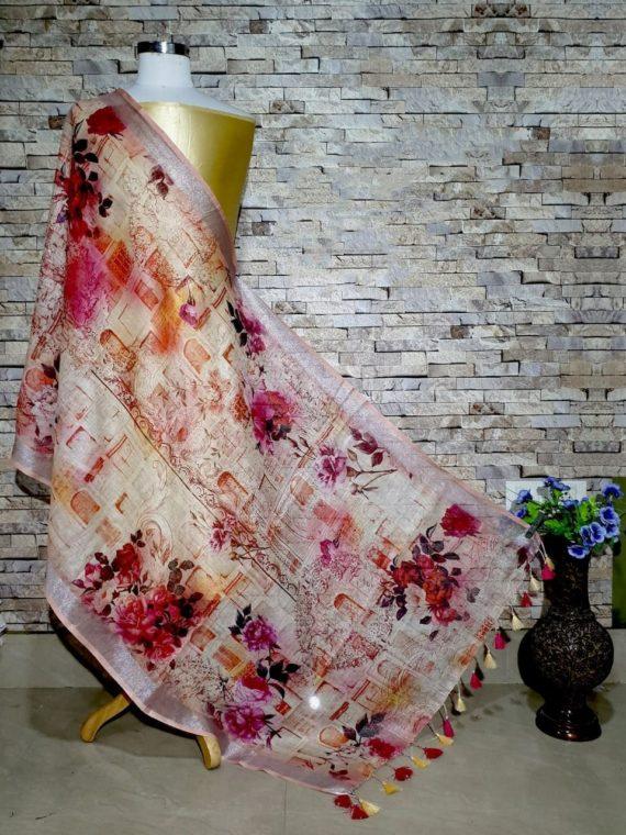 Stunning Peach Floral Design Digital Linen Dupatta_