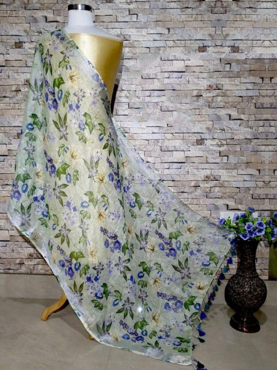 Subtle Green textured Designer Digital Linen Dupatta_