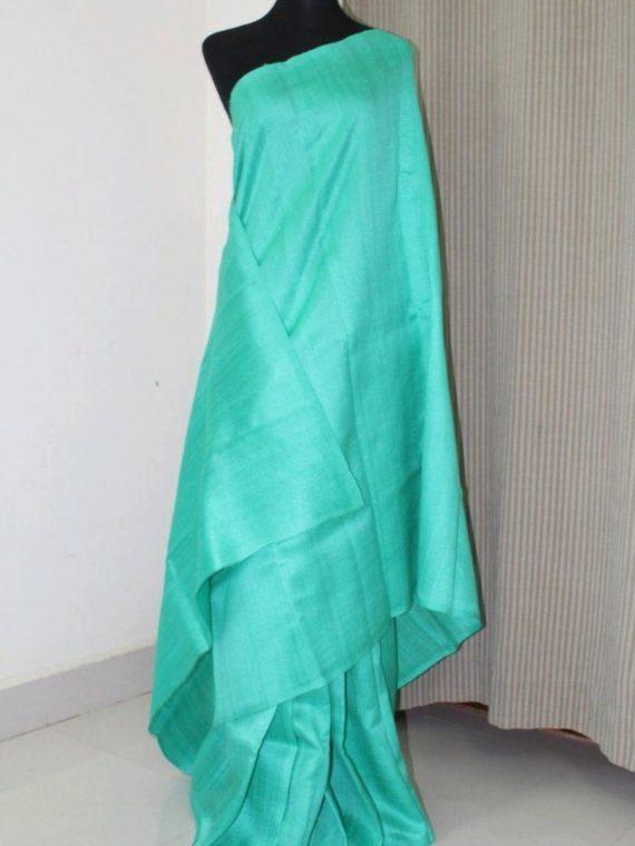 Alluring Sea Green Pain Tussar Raw Silk Saree